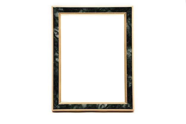 孤立した白い背景に大理石の効果を持つビンテージフォトフレーム。 Premium写真