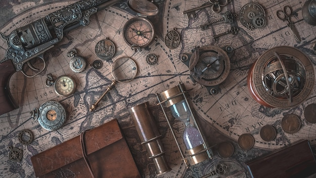 Vintage pirate collection on world map Premium Photo
