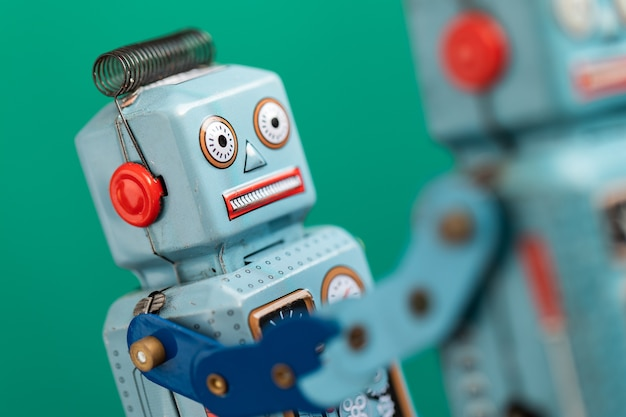 Vintage retro robot tin toy Premium Photo