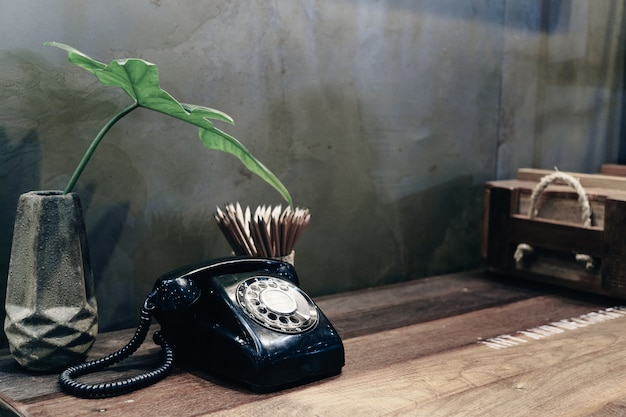 Vintage Retro Telephone For Room Decoration In Vintage Style Photo