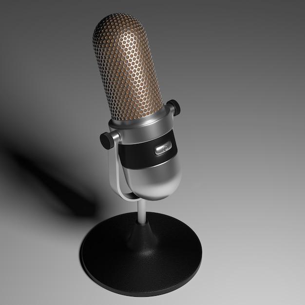 Винтажный серебряный микрофон на серой поверхности градиента 3d визуализации. Premium Фотографии