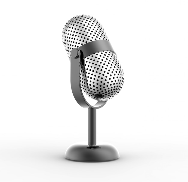 Vintage silver microphone Premium Photo