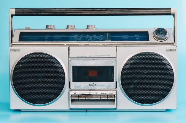 Vintage stereo on blue pasrel color background Premium Photo