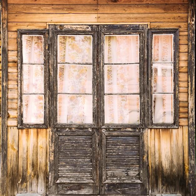 Vintage style doors. close-up Premium Photo