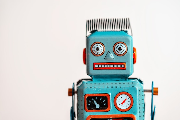 Vintage tin robot isolated on white Premium Photo