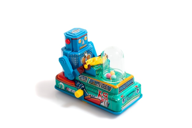 Vintage tin robot toy isolated Premium Photo
