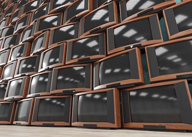 ビンテージテレビ受信機、レトロなテレビ、3 dイラストレーションの壁 Premium写真