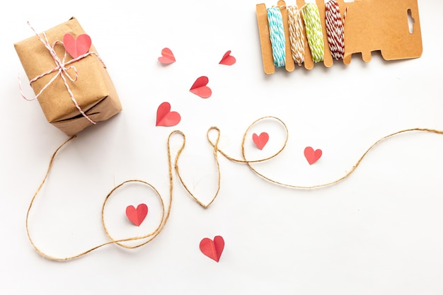 Vintage valentines day gift box on white background  with