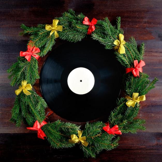 Vinyl record in christmas style Premium Photo