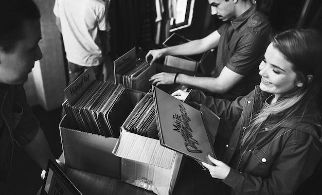 Vinyl record store music shopping oldschool classic concept Premium Photo