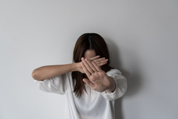 Violence against women and children, domestic violence against, stop sexual abuse concept. Premium Photo