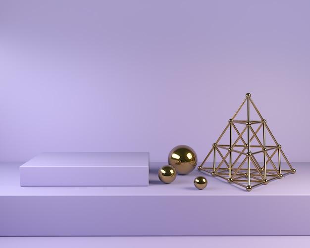Violet podium square steps with golden decor 3d render Premium Photo