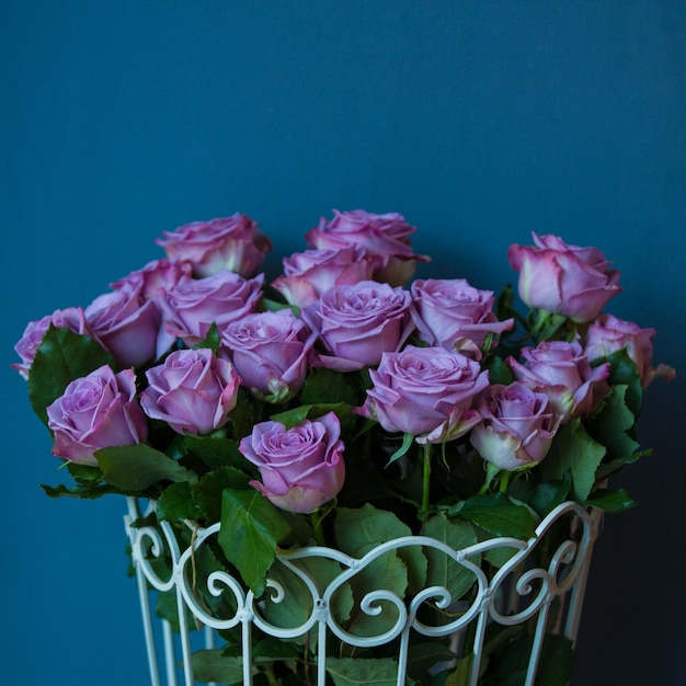 Violet roses in a metallic basket in a photo studio Free Photo