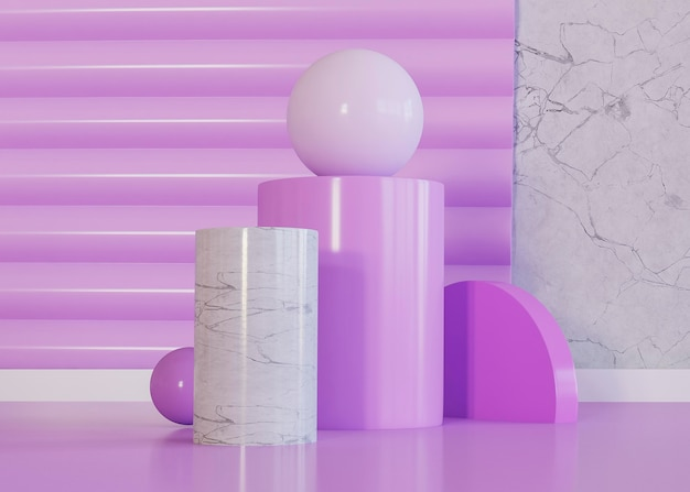 Violet tones of geometric shapes background Premium Photo