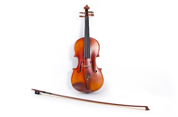 Violin and bow on white background Free Photo