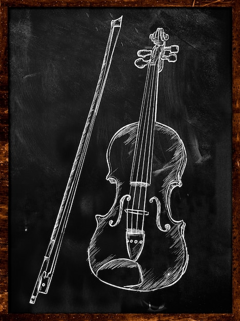 Violin drawing sketch on blackboard music Photo | Free Download