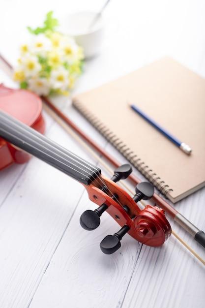 Violin headstock orchestra instrumental Premium Photo