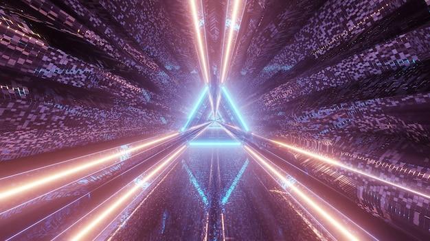 Proiezione virtuale di luci che formano schemi triangolari e fluiscono in avanti Foto Gratuite