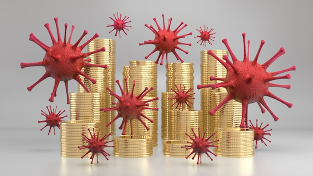 Virus floating above stack of golden coins Premium Photo