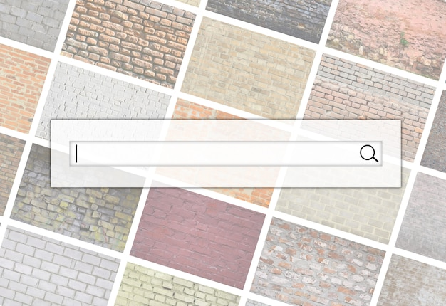 Visualization of the search bar on the background of a collage of many pictures with fragments of brick walls Premium Photo