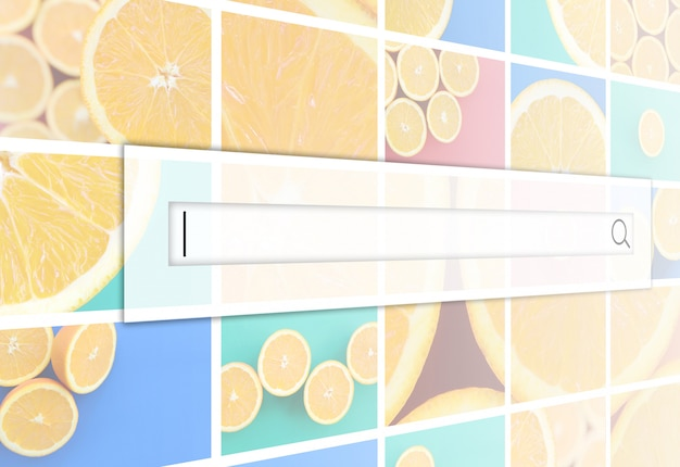 Visualization of the search bar on the background of a collage of many pictures with juicy oranges. Premium Photo