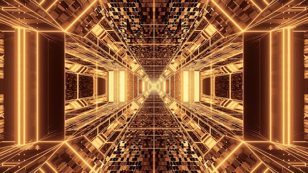 Яркий абстрактный психоделический коридор для фона с золотыми и коричневыми цветами Бесплатные Фотографии