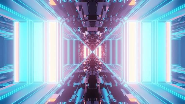 Vivido modello astratto corridoio psichedelico per lo sfondo con i colori blu e viola Foto Gratuite