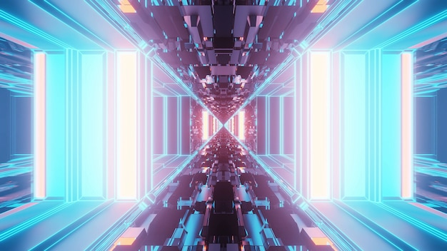 Яркий абстрактный психоделический узор коридора для фона с синими и фиолетовыми цветами Бесплатные Фотографии