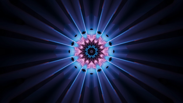 青とピンクの色で背景の鮮やかな美しい抽象的な花のようなパターン 無料写真