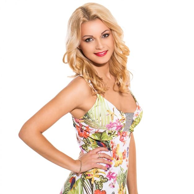 Vogue. beautiful blonde in cute dress Free Photo