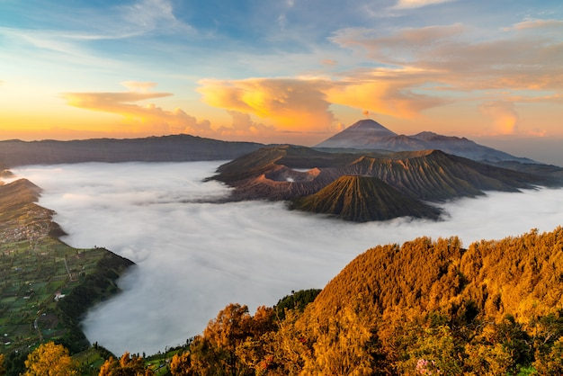 Volcano with mist at sunset Free Photo