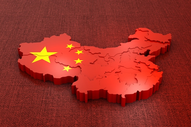 A volumetric map of china on the flag. 3d rendering. Premium Photo
