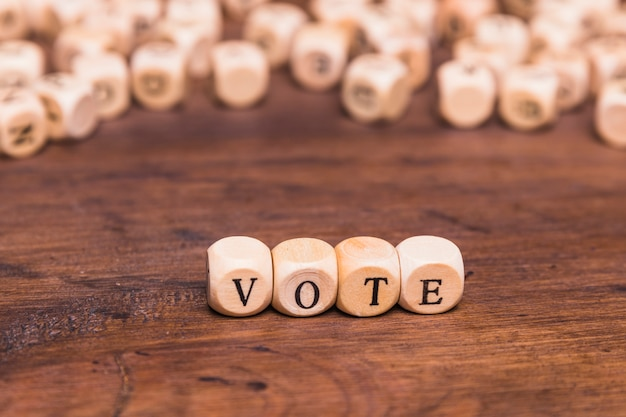 Vote word on four wood cube dices Free Photo