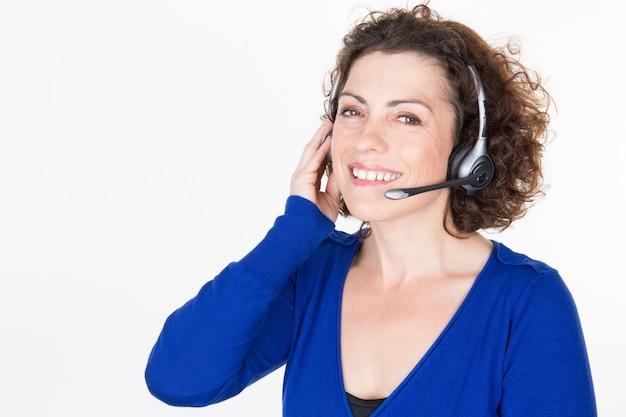 ヘッドセットwのカスタマーサポート電話女性オペレーター Premium写真