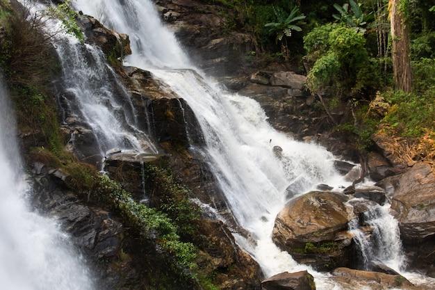 Wachirathan beautiful waterfall Premium Photo