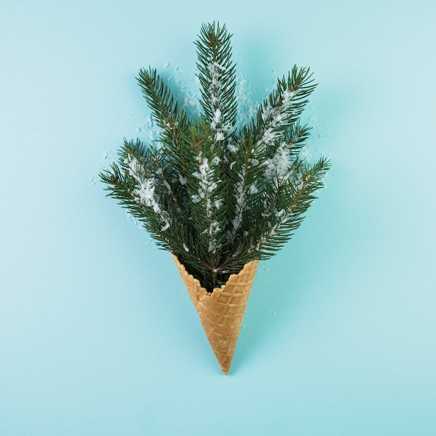 Wafer cup with fir twig and ornament snow Free Photo