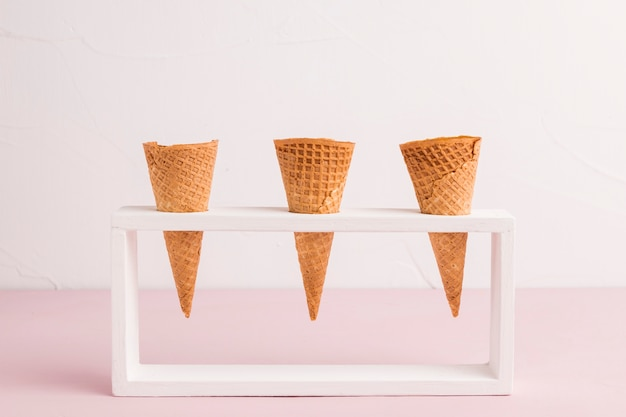 Waffle cones in holder Free Photo
