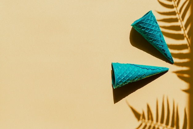 Waffle cones on palm leaves shadow Free Photo