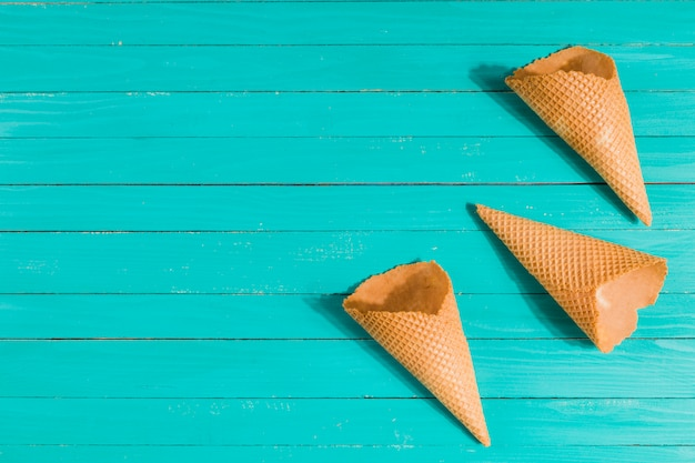 Waffle cones on table in random Free Photo