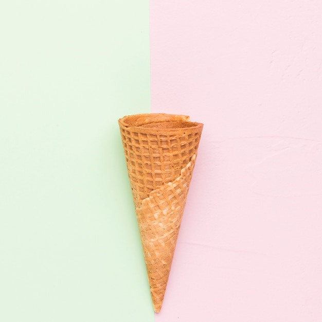 Waffle cornet on different color background Free Photo
