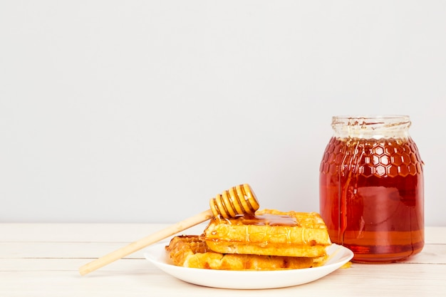 Waffle and honey in white plate for healthy breakfast Free Photo