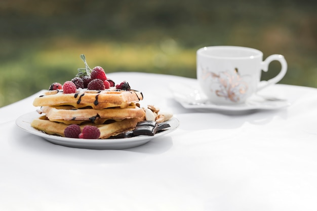 Waffles with raspberries toppings on plate and ceramic coffee on white table at outdoors Free Photo