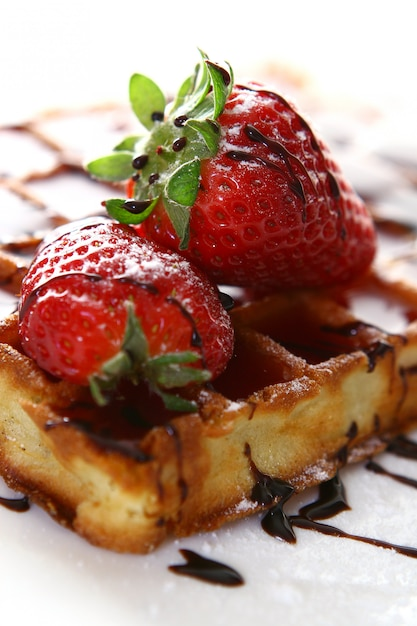 Waffles with strawberry Free Photo