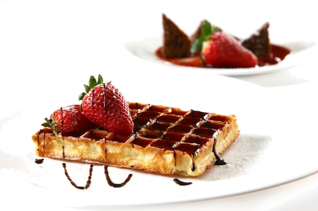 Waffles with strawberry Free Photo