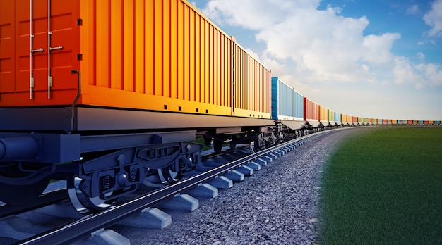 Wagon of freight train with containers Premium Photo