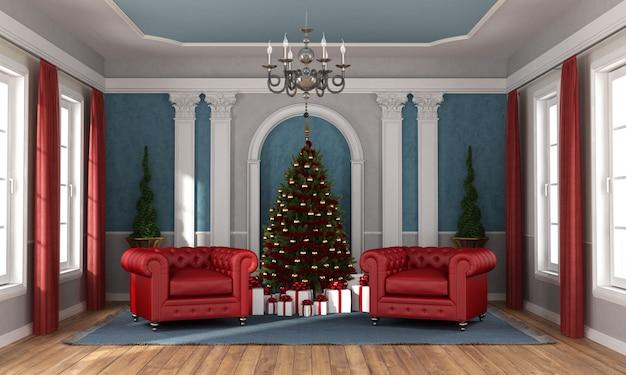 В ожидании рождества в роскошной гостиной Premium Фотографии