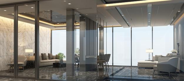 대리석 바닥과 소파 세트 3d 렌더링 대기실 현대 럭셔리 인테리어 디자인 프리미엄 사진