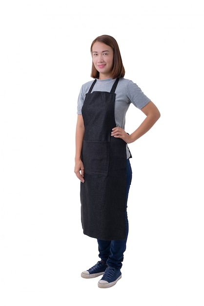 Waitress, delivery woman or servicewoman in gray shirt and apron isolated on white background Premium Photo