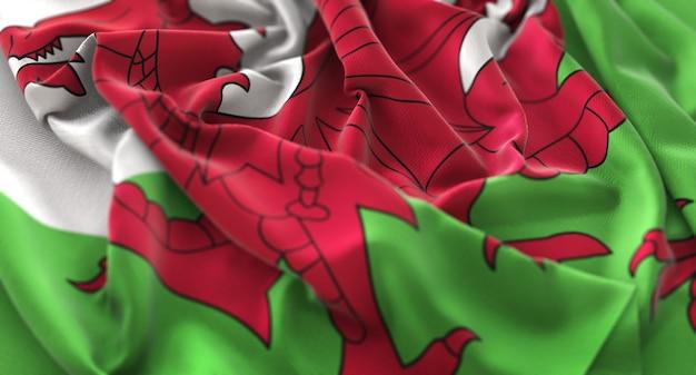 Wales flag ruffled beautifully waving macro close-up shot Free Photo