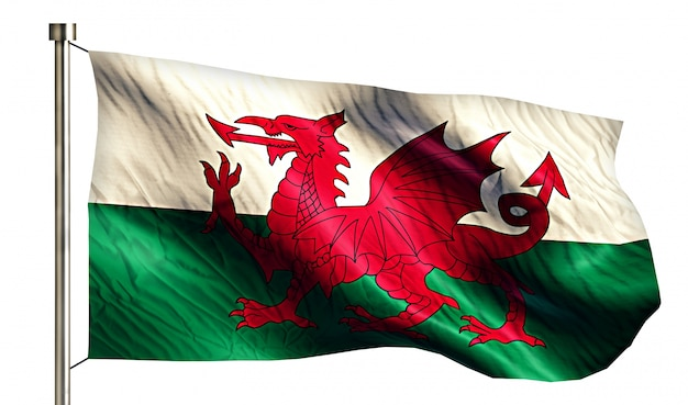 Wales National Flag Isolated 3D White Background Free Photo